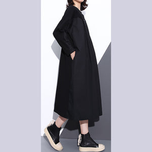 top quality black coats plus size stand collar pockets patchwork baggy Coat