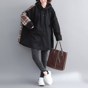 fine black cotton coat for woman plussize hooded medium length jackets patchwork jacket