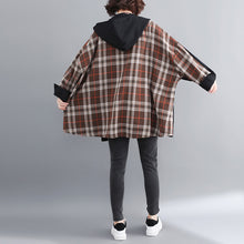 Load image into Gallery viewer, fine black cotton coat for woman plussize hooded medium length jackets patchwork jacket