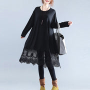 fine black cotton dresses casual cotton clothing dresses Fine lace ruffles long sleeve cotton dresses
