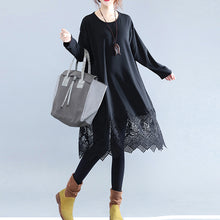 Load image into Gallery viewer, fine black cotton dresses casual cotton clothing dresses Fine lace ruffles long sleeve cotton dresses