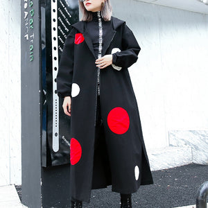 top quality black dotted long coat plus size hooded maxi coat women side open baggy coats