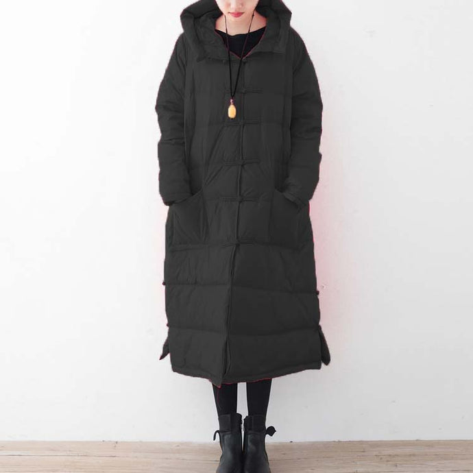 top quality black down coat oversized down overcoat New Chinese Button coats hooded