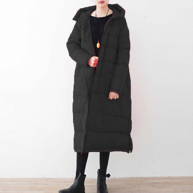 fine black down coat oversized down overcoat New Chinese Button coats hooded