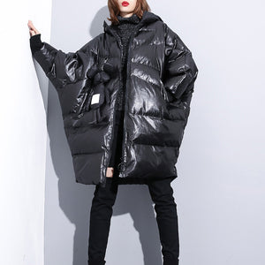 top quality black down jacket plus size hooded cotton coat Elegant zippered pockets over coat