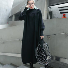 Load image into Gallery viewer, top quality black fall dress plus size clothing stand collar 2018 pockets baggy dresses