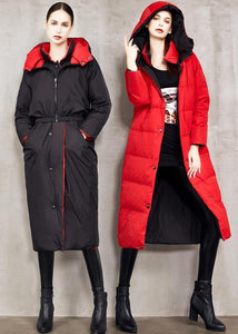 top quality black goose Down coat plus size two ways to wear winter jacket hooded top quality winter outwear