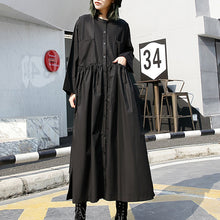 Load image into Gallery viewer, fine black long cotton dresses Loose fitting stand collar cotton clothing dress New elastic waist cotton caftans