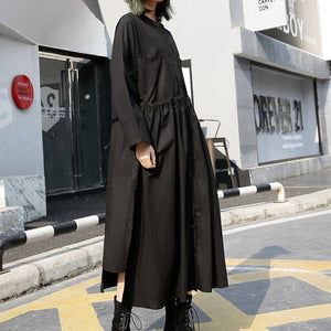 fine black long cotton dresses Loose fitting stand collar cotton clothing dress New elastic waist cotton caftans