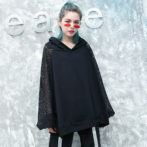 top quality black natural cotton blended t shirt oversized hooded clothing tops top quality lace patchwork long sleeve tops