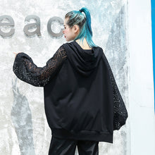 Load image into Gallery viewer, top quality black natural cotton blended t shirt oversized hooded clothing tops top quality lace patchwork long sleeve tops