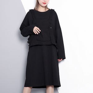top quality black oversize casual dress false two pieces casual O neck clothing dresses