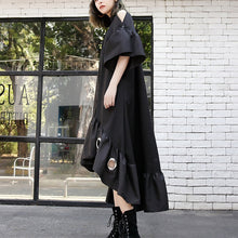 Load image into Gallery viewer, top quality black patchwork cotton maxi dress trendy plus size hollow out gown casual asymmetric hem cotton caftans