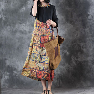 top quality black patchwork linen dresses plus size o neck traveling dress New short sleeve baggy dresses linen caftans