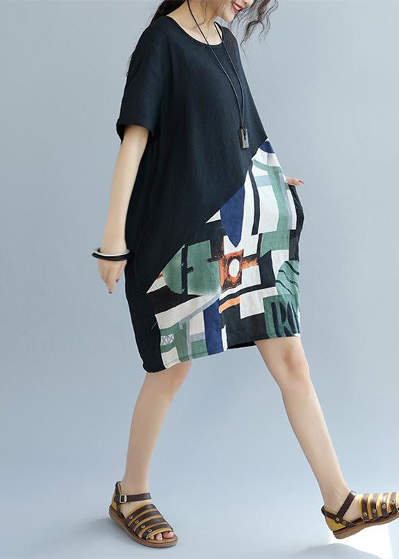 fine black patchwork linen shift dress Loose fitting cotton clothing dress Elegant short sleeve wild prints knee dresses