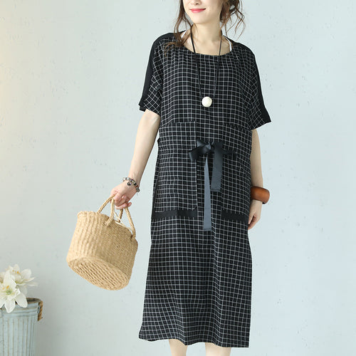 451b4ccf314 top quality black plaid cotton dresses plus size patchwork traveling  clothing 2018 tie waist gown
