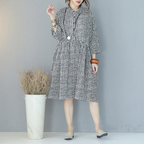 6bc778f728a top quality black plaid pure cotton dress plus size clothing shirt dress  boutique lapel collar bracelet
