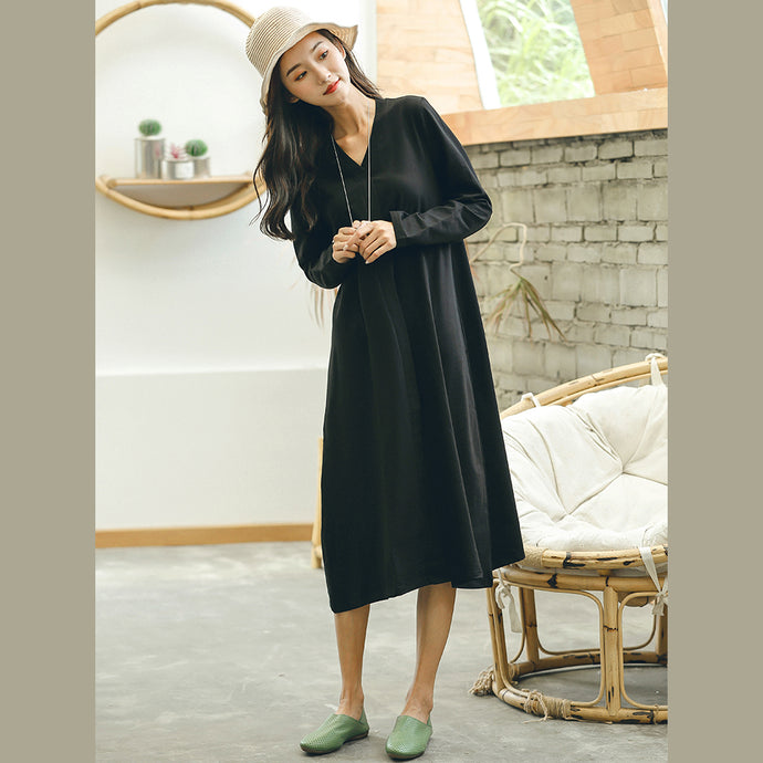 top quality black plus size fall dresses baggy casual V neck Jacquard dresses