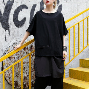 top quality black pure linen blouse casual linen cotton t shirt Fine asymmetric hem patchwork cotton shirts