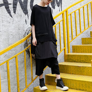 fine black pure linen blouse casual linen cotton t shirt Fine asymmetric hem patchwork cotton shirts
