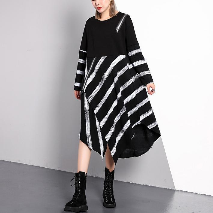 Top Quality Black Striped 2018 Fall Plus Size Dresses Asymmetrical