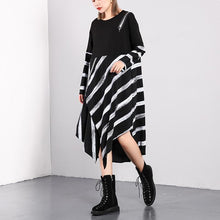 Load image into Gallery viewer, top quality black striped 2018 fall plus size dresses asymmetrical design vintage O neck cotton blended dress