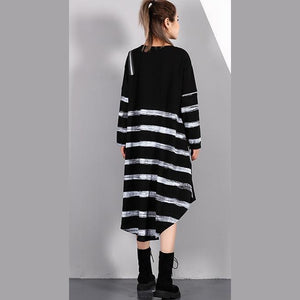 top quality black striped 2018 fall plus size dresses asymmetrical design vintage O neck cotton blended dress