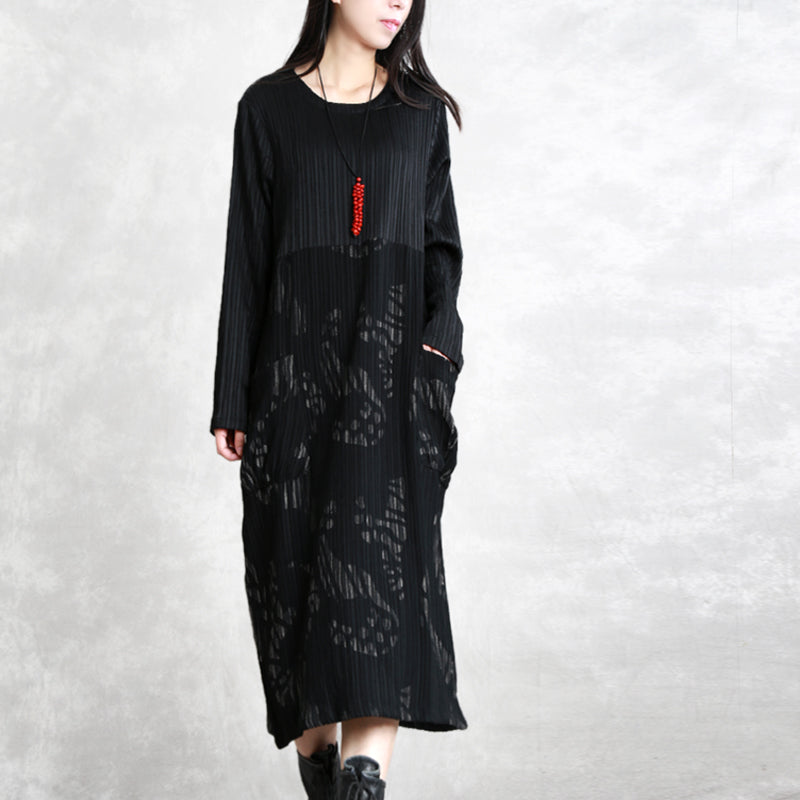top quality black striped autumn cotton blended dress plus size clothing O neck patchwork cotton blended gown casual long sleeve pockets maxi dresses