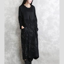 Load image into Gallery viewer, top quality black striped autumn cotton blended dress plus size clothing O neck patchwork cotton blended gown casual long sleeve pockets maxi dresses