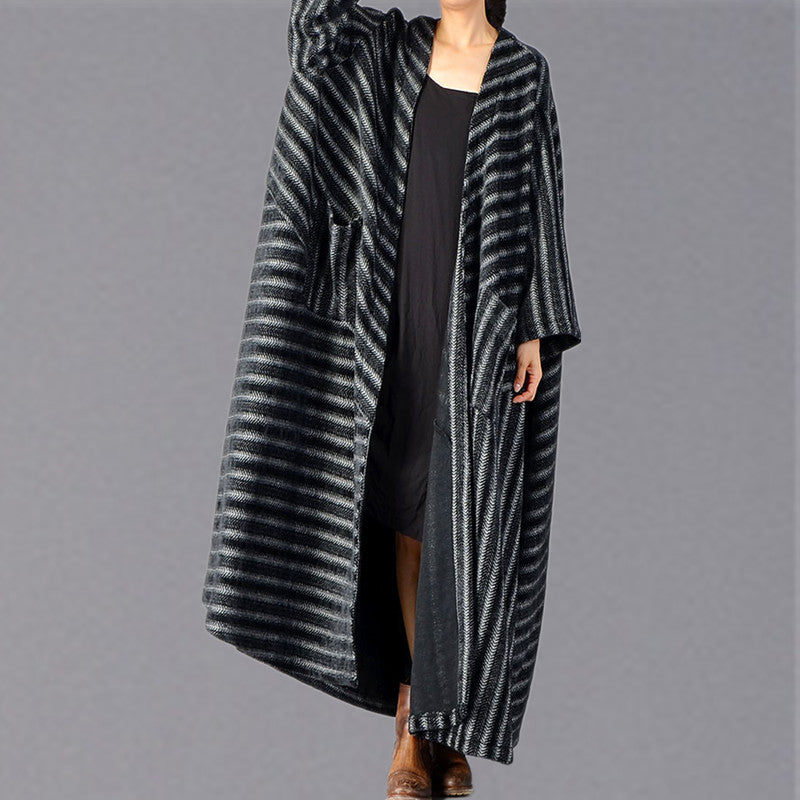 top quality black striped maxi coat plus size pockets long coat women large hem winter coats