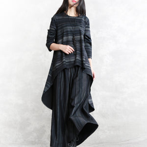 top quality black striped pure cotton blended two pieces plus size traveling clothing boutique long sleeve o neck pockets tops cotton blended baggy trouse