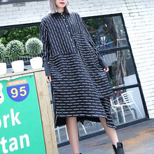 Load image into Gallery viewer, top quality black white striped fall shirt dress plus size clothing Turn-down Collar women long sleeve asymmetrical design shirt dresses