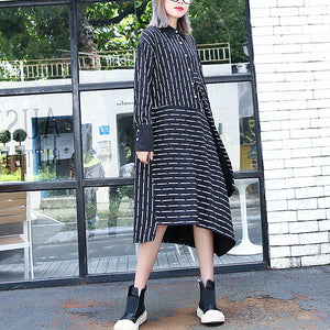 top quality black white striped fall shirt dress plus size clothing Turn-down Collar women long sleeve asymmetrical design shirt dresses