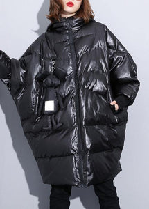 fine black winter outwear plus size Coats hooded zippered overcoat