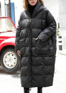 top quality black winter parkas plus size hooded pockets coats