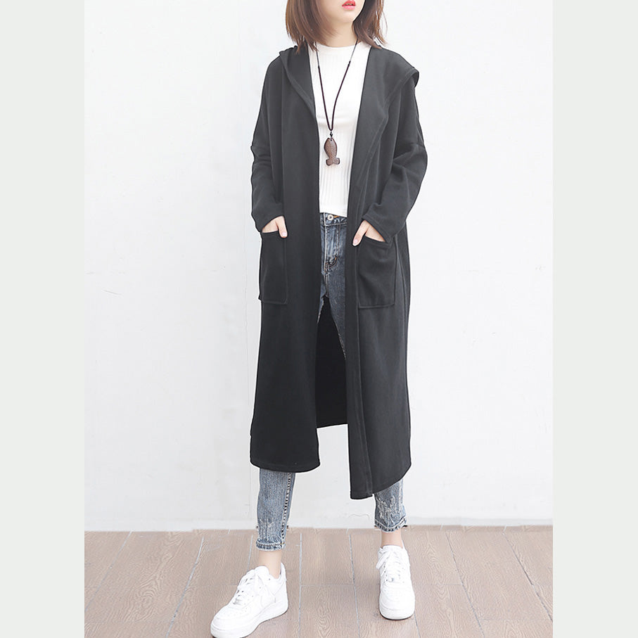 top quality black woolen outwear oversized big pockets long coats hooded jackets