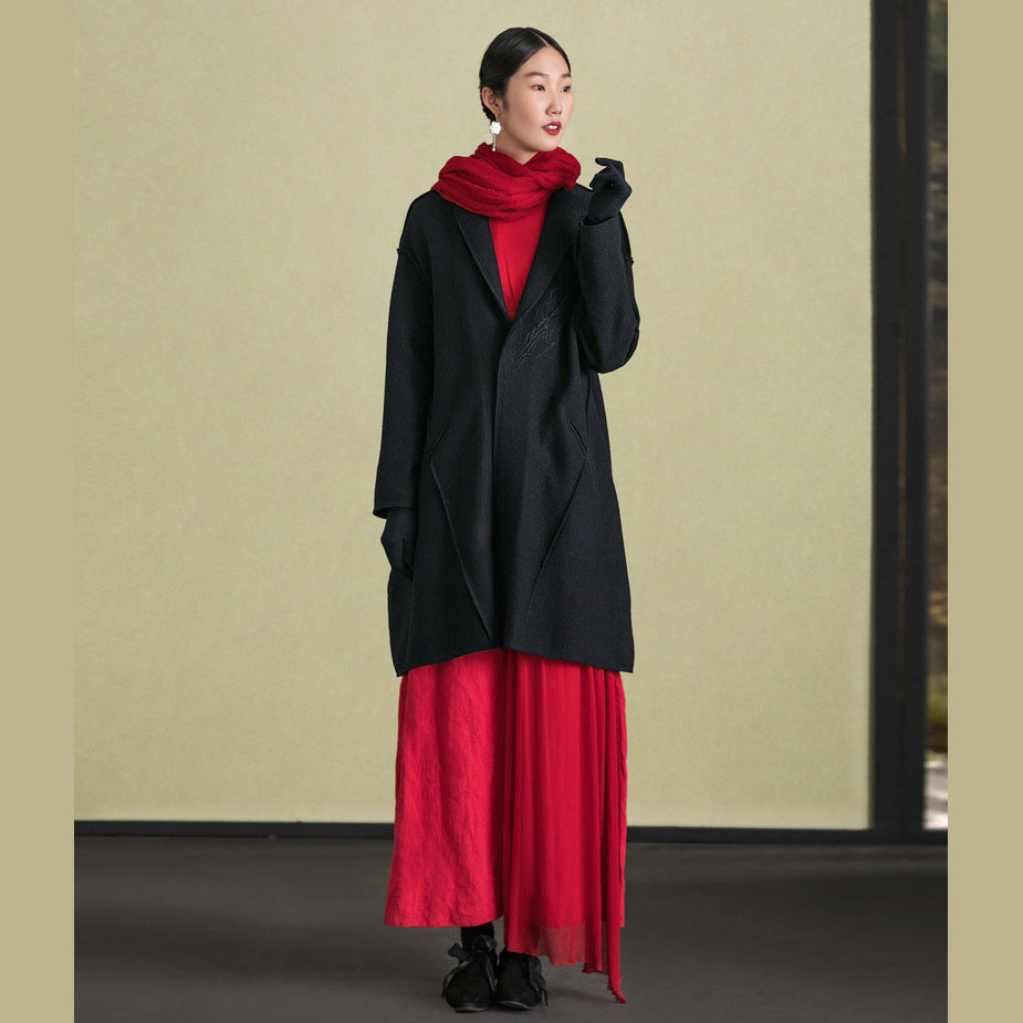 top quality black woolen outwear plus size long sleeve Jackets & Coats embroidery women coats