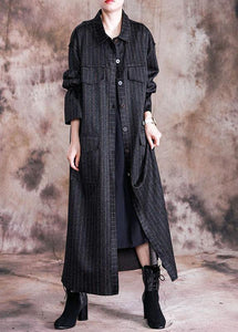 top quality black woolen overcoat oversize Coats fall women coats striped