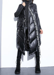 top quality black zippered Parkas trendy plus size warm winter coat sleeveless overcoat low high design