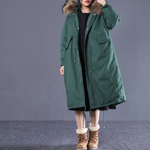 top quality blackish green down overcoat clothing hooded fur collar quilted coat New drawstring pockets winter outwear