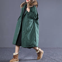 Load image into Gallery viewer, top quality blackish green down overcoat clothing hooded fur collar quilted coat New drawstring pockets winter outwear