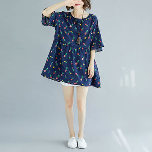 top quality blue cotton shift dresses plus size clothing maxi dress casual Half sleeve floral v neck cotton dress