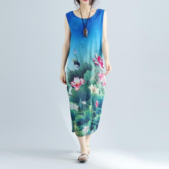 fine blue floral long cotton dress plussize sleeveless long cotton dresses boutique side open cotton clothing dresses