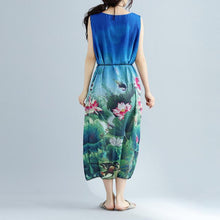 Load image into Gallery viewer, fine blue floral long cotton dress plussize sleeveless long cotton dresses boutique side open cotton clothing dresses