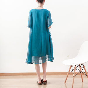 top quality blue green Midi chiffon dresses plus size clothing chiffon maxi dress 2018 o neck asymmetric ruffles cotton dress
