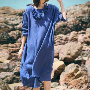 top quality blue linen caftans plus size clothing o neck baggy dresses linen clothing dresses women half sleeve linen dresses