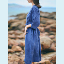 Load image into Gallery viewer, top quality blue linen caftans plus size clothing o neck baggy dresses linen clothing dresses women half sleeve linen dresses