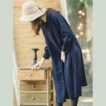 Load image into Gallery viewer, fine blue maxi coat plus size clothing peter pan Collar Winter coat boutique long sleeve baggy Coat
