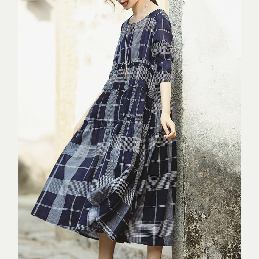 fine blue plaid grid cotton linen caftans Loose fitting o neck baggy dresses gown women half sleeve pockets dresses