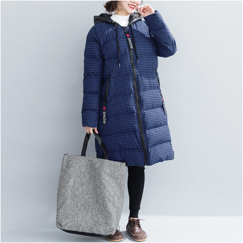 top quality blue plaid winter parkas plus size hooded snow jackets Elegant thick winter coats
